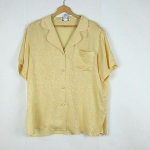 Vintage 90s Oversize Button Up Silk Top Yellow XL